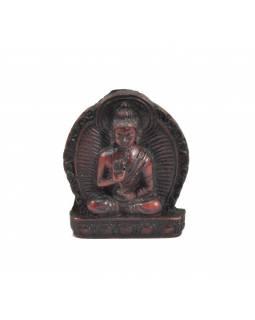 """Buddha Amóghasiddhi, mini, """"stone"""", hnědo červený, pryskyřice, 4cm"""