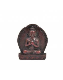 """Buddha Vairóčana, mini, """"stone"""", hnědo červený, pryskyřice, 4cm"""
