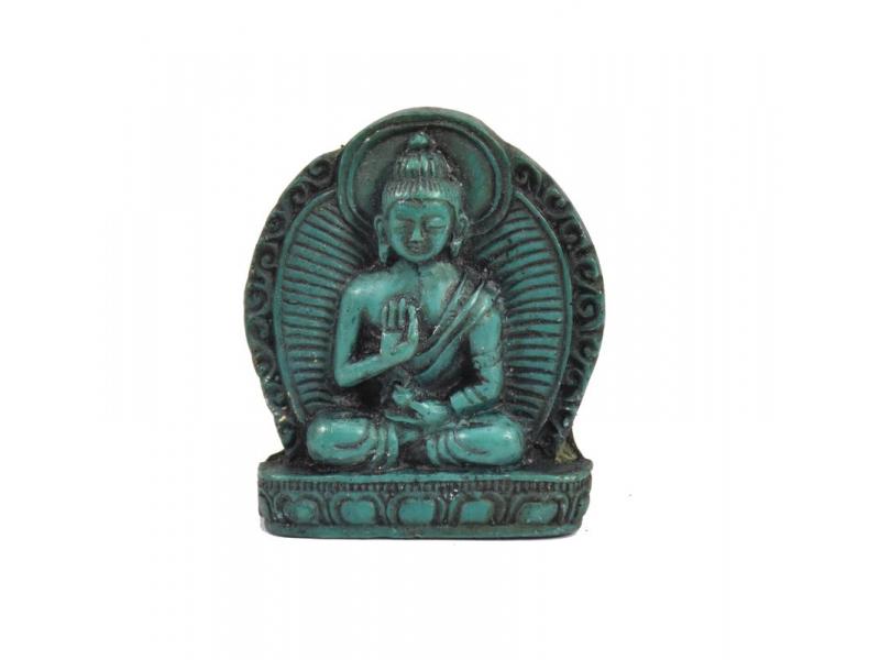 "Buddha Amóghasiddhi, mini, ""stone"", tyrkysový, pryskyřice, 4cm"