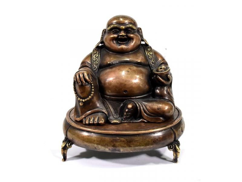 Smějící se Buddha, mosazná soška, vykuřovadlo, 15x10x16cm