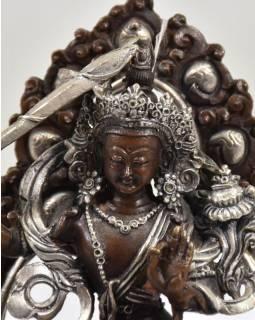 Mandžušrí, kovová soška, 9x6x13cm