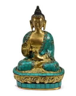 Buddha Amoghasiddhi, mosazná soška vykládaná polodrahokamy, 18cm