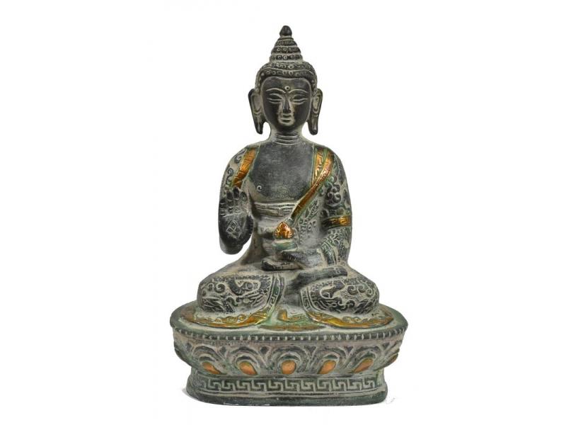 Buddha Amoghasiddhi, mosazná soška, kamenná patina, 18cm