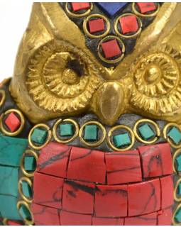 Sova, soška vykládaná polodrahokamy, výš. 6cm, 6x6x6cm