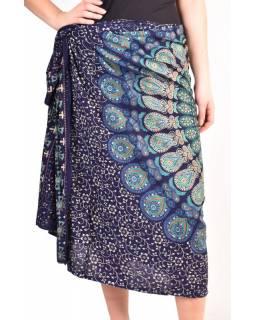 """Modrý sárong s ručním tiskem, """"Naptal"""" design, 110x170cm"""