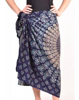 """Sárong modrý """"Naptal"""" design, 110x170cm, s ručním tiskem"""