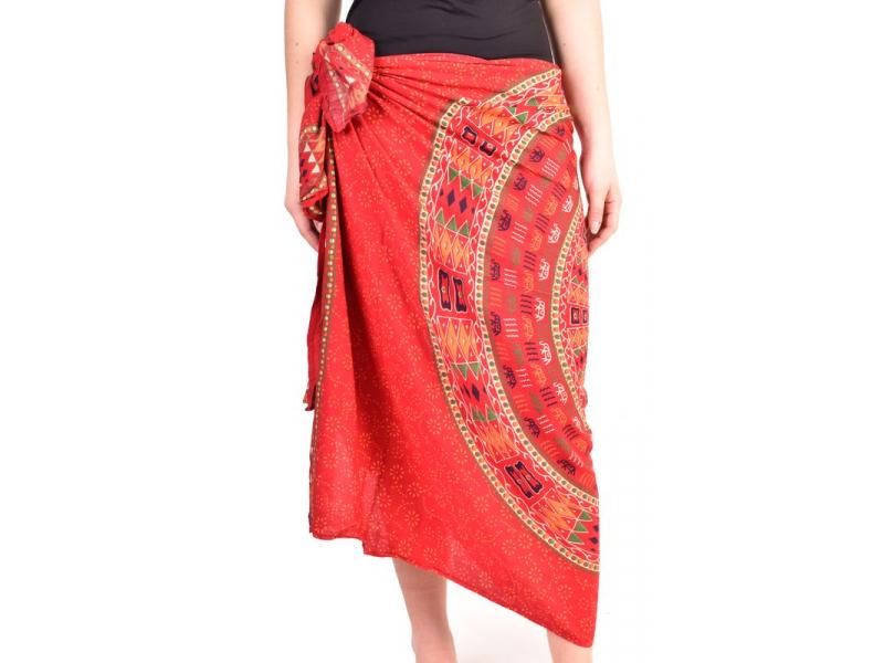 Sárong s ručním tiskem, červený, Mandala, sloni, 110x170cm