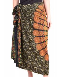 """Černý sárong s ručním tiskem, """"Naptal"""" design, 110x170cm"""