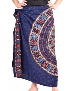 Modrý sárong s ručním tiskem, floral design, 110x170cm