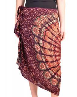 """Fialový sárong s ručním tiskem, """"Naptal"""" design, 110x170cm"""