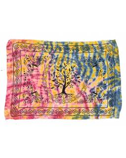 Multibarevný batikovaný sárong se stromem života, 110x170cm