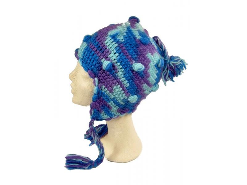 Čepice s ušima, kuličky, podšívka, modro fialová