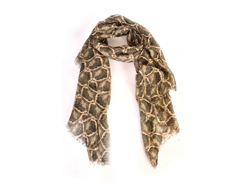 Velký šátek s motivem, sv. hnědý, černý potisk, 180x110cm