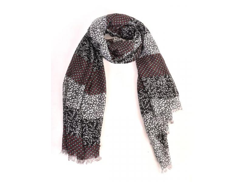 Šátek z bavlny, černý, potisk drobných květin 100x174cm