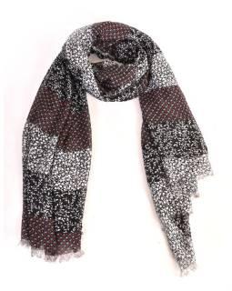 Velký šátek s motivem, černý, 180x110cm