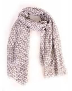 Velký šátek s motivem, šedý, 180x110cm