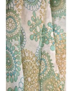 Velký šátek s motivem, tyrkysový, 180x110cm