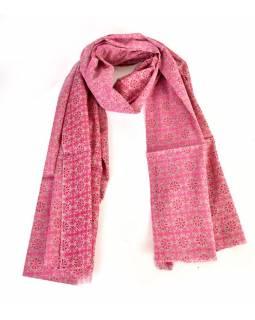 Bavlněný šátek s květinovým vzorem, šedý s růžovým potiskem, 180x70cm