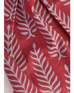 Bavlněný šátek s květinovým vzorem, vínový s šedým potiskem, 180x70cm