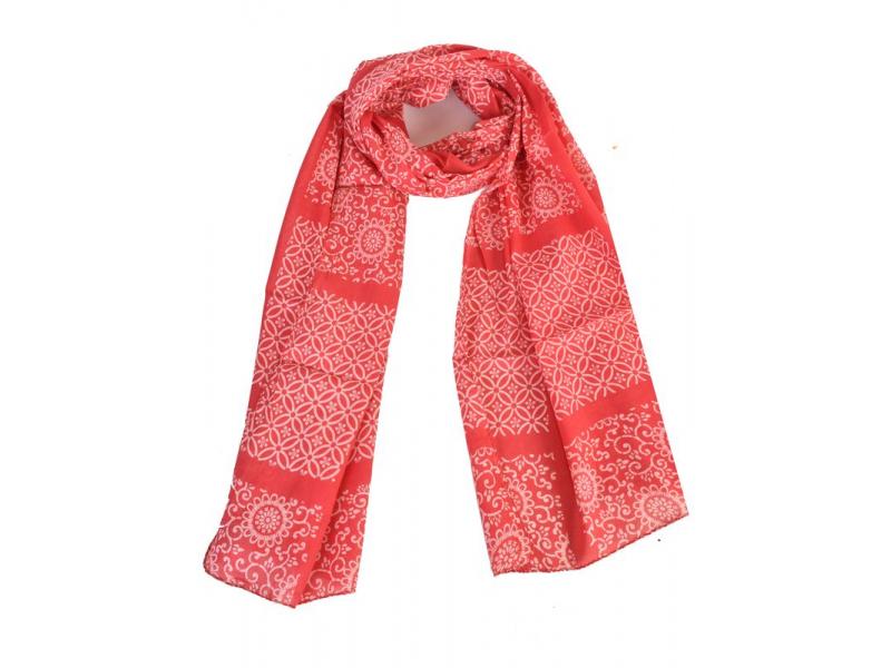 Bavlněný šátek s květinovým vzorem, červený, 185x75cm