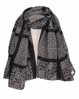 Bavlněný šátek s květinovým vzorem, černý, 185x75cm