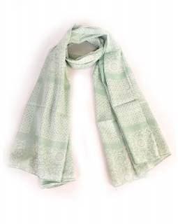 Bavlněný šátek s květinovým vzorem, bledě zelený, 185x75cm