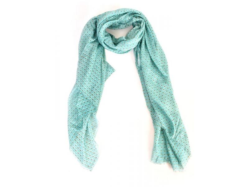 Tyrkysový šátek s z jemným vzorem, 175x115cm