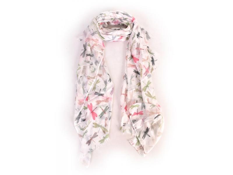 Bílý šátek s vážkami, 170x110cm