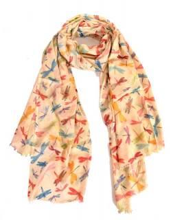 Béžový šátek s vážkami, 180x115cm