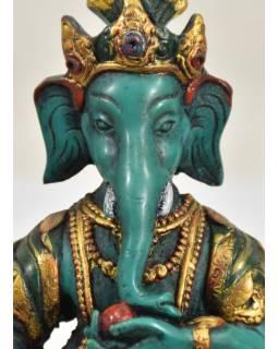 Ganesh sedící na podstavci, tyrkysový, ručně malovaný, pryskyřice, 16cm