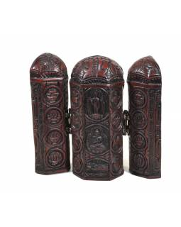 Buddha, cestovní oltář, červeno hnědý, pryskyřice, 12cm