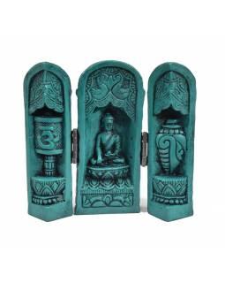 Buddha, cestovní oltář, tyrkysový, pryskyřice, 12cm