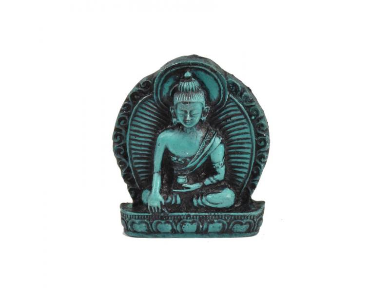 """Buddha Šákjamuni, mini, """"stone"""", tyrkysový, pryskyřice, 4cm"""