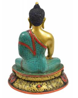 Soška Buddhy Shakjamuniho, pozlacená a zdobená polodrahokamy, 18x13x18cm