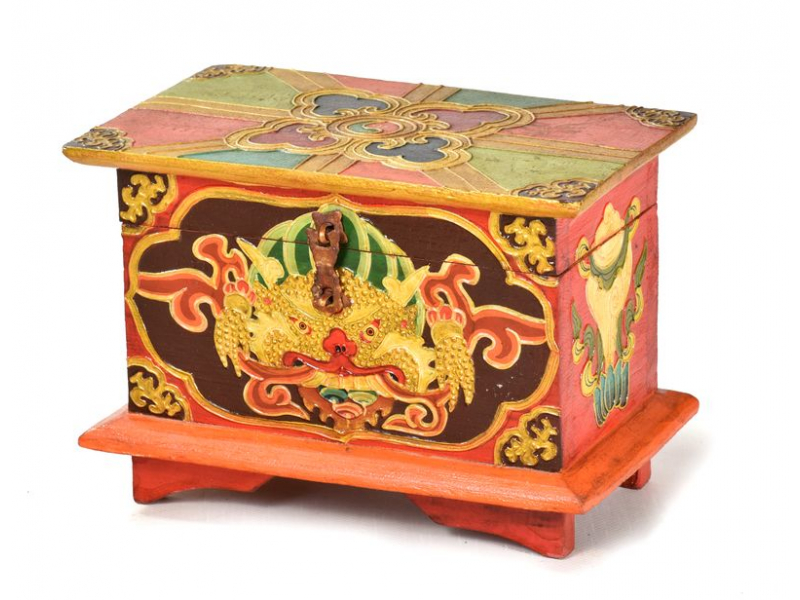 Dřevěná truhlička, tibetský design-Cheppu, 20x12x14cm