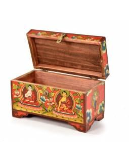 Dřevěná truhlička, tibetský design-Buddha, 25x13x15cm