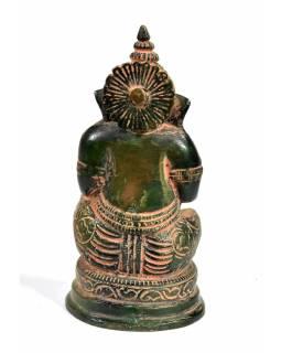 Ganéša, antik zelená patina, mosaz, 5x5x11cm