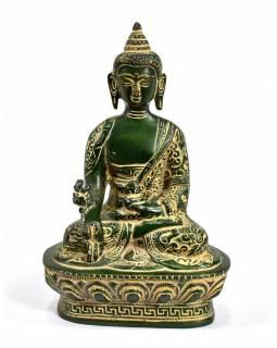 Uzdravující Buddha, antik zelená patina, mosaz, 11x7x17cm