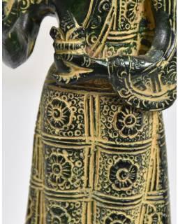 Buddha Maytreia, antik zelená patina, mosaz, 7x7x19cm