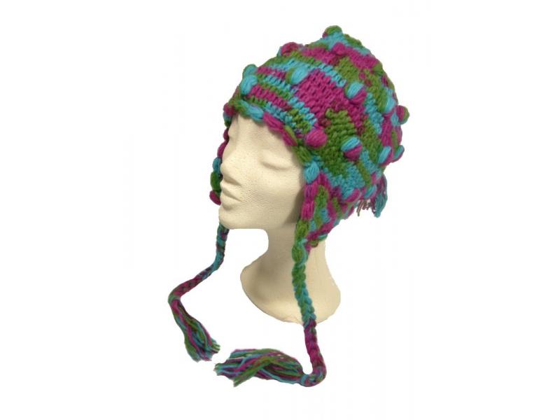 Čepice s ušima, kuličky, podšívka, modro/zeleno/fialová