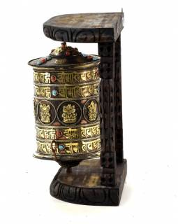 Modlitební mlýnek na stěnu, Astamangal, černý, 31x18x31cm