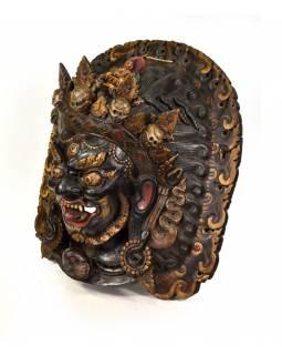 Dřevěná maska, Bhairab se soškou Buddhy, ručně malovaná, 60x64cm