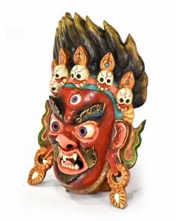 Dřevěná maska, Bhairab, ručně malovaná, 32x46cm