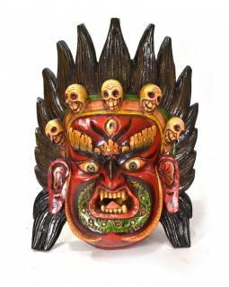 Dřevěná maska, Bhairab, ručně malovaná, 30x42cm