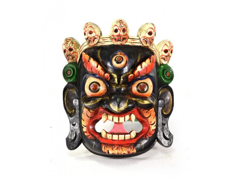 Dřevěná maska, Bhairab, ručně malovaná, 26x30cm