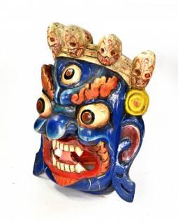 Dřevěná maska, Bhairab, ručně malovaná, 24x29cm