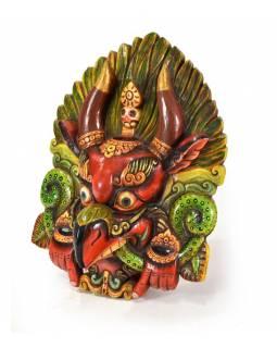 Dřevěná maska, Garuda, ručně malovaná, 35x47cm