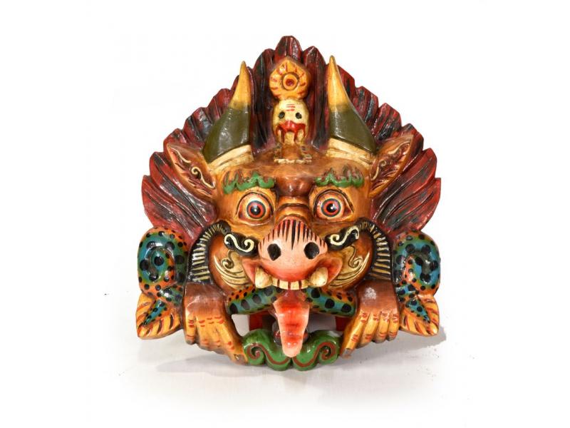 Dřevěná maska, Cheppu, ručně malovaná, 27x30cm