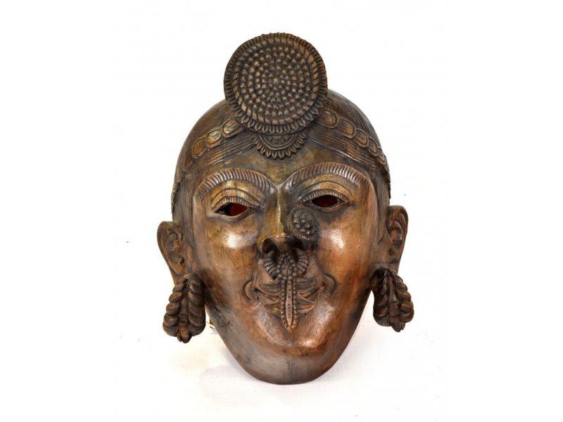 Dřevěná maska Nepálské ženy, 24x28cm