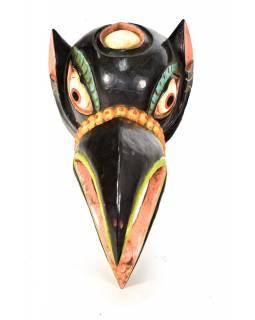 Dřevěná maska, vrána, ručně malovaná, 16x30cm